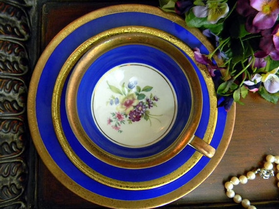 Blue Kunst Kronach Cup Saucer and Plate Trio - Germany 7707