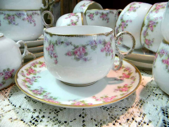 Limoges France Elite Works Demitasse Bridal Wreath Teacup Tea