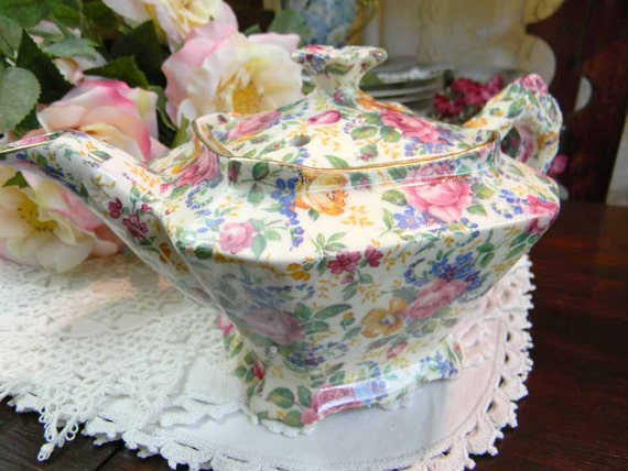 Antique James Kent LTD Rosalynde Old Chintz Tea Pot Teapot England 5533 - Free Shipping