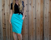 Vintage 80s CORDUROY Turquoise PENCIL SKIRT Xs S 24 Inch Waist