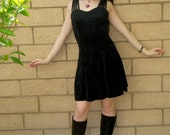 LAST CHANCE Vintage 90s Black Velvet CAGE Straps Sweetheart Full Circle  twirly party dress S M