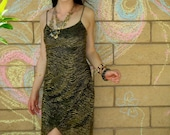 LAST CHANCE Vtg 90s bedazzling Glam gold fitted Cocktail Party Dress S