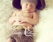 CROCHET PATTERN PDF- puppy hat and diaper cover set -2 sizes