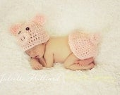 crochet baby outfit - piggy hat  - pig photo prop- baby boy hat- baby girl hat - photography props, pig outfit