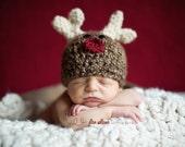 Reindeer hat - baby reindeer crochet hat - photography prop - rudolph hat