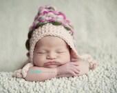 CROCHET PATTERN - handspun point top hood pattern 129- baby girl hat crochet pattern- handspun yarn pattern  - photo prop crochet pattern