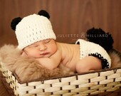 baby boy clothes - panda hat- panda diaper cover - baby girl clothes - baby boy hats - baby girl hats - photo prop - crochet outfit