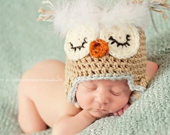 sleeping owl hat, baby boy hats, baby girl hats, owl photo props, photo props for newborns baby boy hat