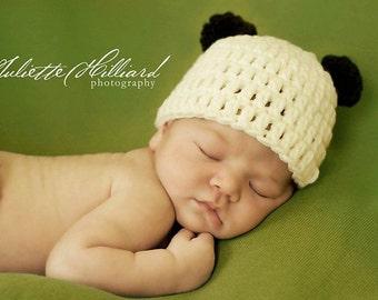 baby boy hat, baby girl hat, panda bear hat, baby panda hat, crochet baby hat, newborn hat, infant hat, photo props