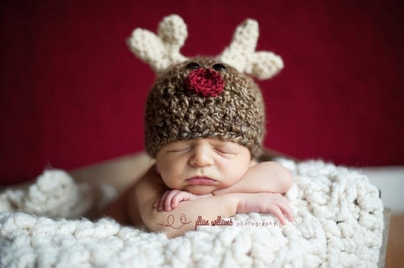baby crochet pattern - my little reindeer hat pattern - crochet hat pattern - crochet prop pattern