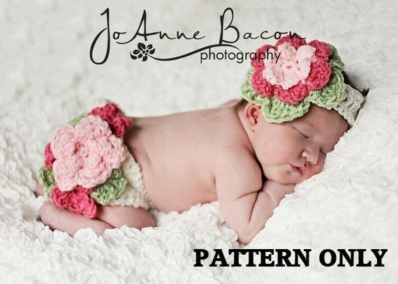 crochet pattern - fancy flower diaper cover, baby girl crochet patterns , diaper cover crochet pattern, baby girl clothes, photo props