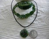 Green Millefiori Necklace with matching bracelet and earrings