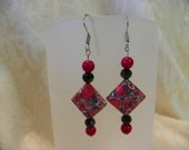 Red and Black Patterned Earrings