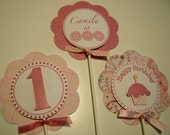 3 Birthday Party Centerpiece Picks, You Pick the Colors/Theme