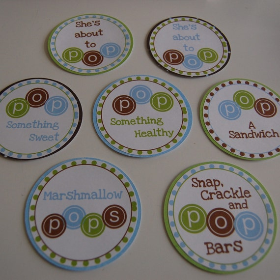 she 39 s about to pop baby shower tags food labels by anygoodideas