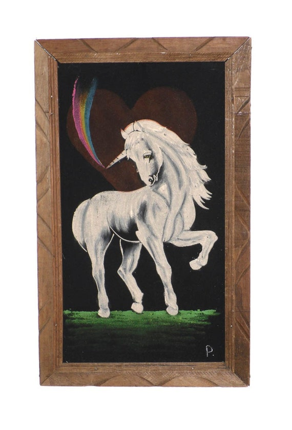 1960s Black Velvet Unicorn Painting