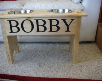 Finished Natural Elevated Dog Feeder, with 2 quart bowls and personized with your dogs name16 inches tall