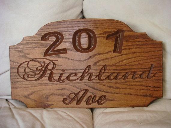Custom carved Wooden Oak Sign, Address sign, Address Plaque