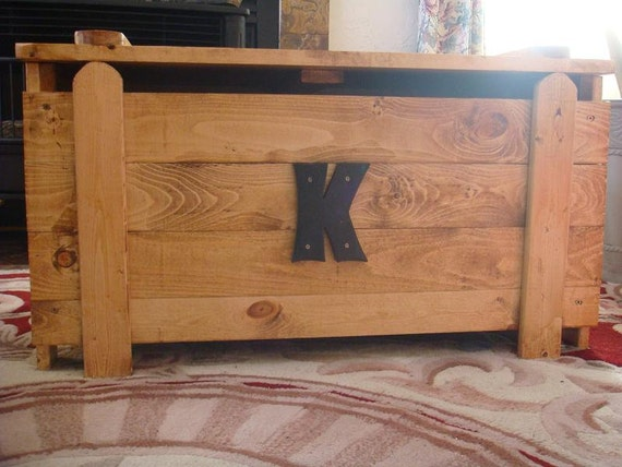 Wooden Toy Box / Blanket Chest with monogram