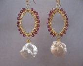 Keishi Pearl, Pink Garnet Gold Earrings