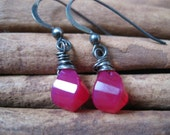 SALE!  Hot Pink Chalcedony Earrings, Oxidized Silver - 20% OFF