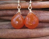 SALE!  Carnelian Faceted Briolette Gold Earrings - 20% OFF