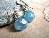 SALE!  Mystic Blue Chalcedony, Gold Earrings - 20% OFF