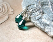 SALE!  Emerald Green Swarovski Crystal, Silver Circle Earrings - 20% OFF