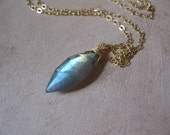 SALE!  Labradorite Marquise Solitaire Gold Necklace - 20% OFF