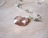 SALE!  Grapefruit Pink Quartz, Labradorite Silver Necklace - 20% OFF