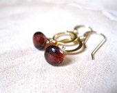 SALE!  Garnet, Gold Circle Earrings - 20% OFF
