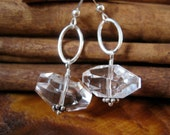 SALE!  Sterling Silver Quartz Nugget Earrings - 20% OFF