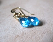 SALE!  Aqua Blue CZ, Gold Earrings - 20% OFF