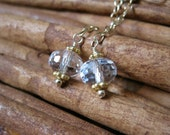 SALE!  Crystal Quartz, Gold Chain Earrings - 20% OFF