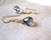 SALE!  Tourmalinated Quartz, Gold Earrings - 20% OFF