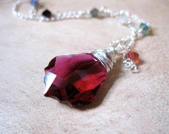 SALE!  Ruby Red Swarovski Silver Necklace - 20% OFF