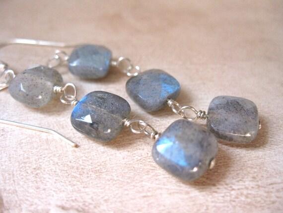 Triple Labradorite Square, Silver Earrings
