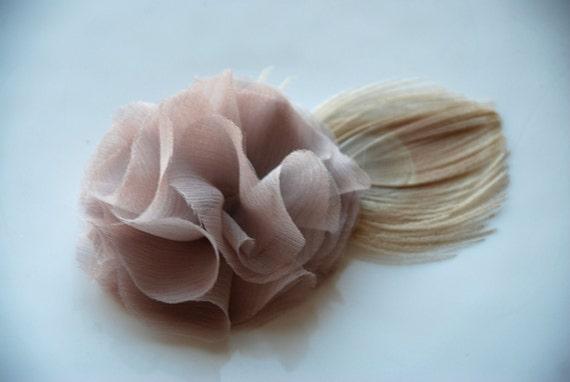 Blush chiffon flower peacock hairclip