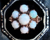 Antique Victorian Opal Flower Ring