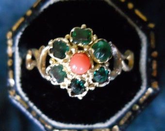 Antique Emerald Ring - Victorian Emerald Coral Ring - May Birthday - 1800s - Vintage Emerald Ring - Cluster Ring - Right Hand Ring - Promise