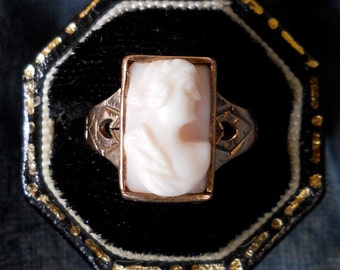Victorian Cameo Ring - Antique Cameo Ring - Angel Skin Coral- Unique Wedding Ring - Engagement Ring - Right Hand Ring - Promise Ring