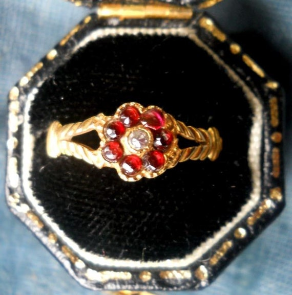 Antique Victorian Garnet and Diamond Ring