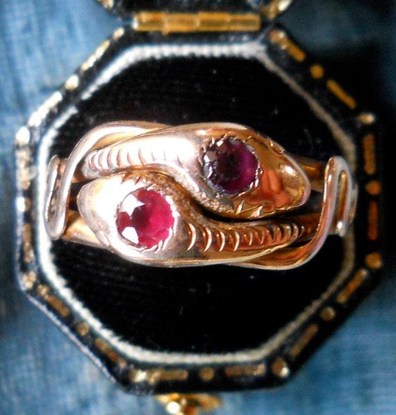 Antique Victorian Garnet Snake Ring