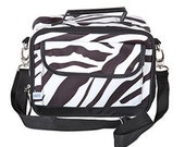 Sahara Stripe, Zebra, Black and White Lunch Tote from Room It Up, personalized, monogrammed, lunch bag