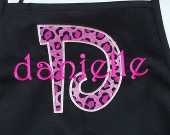 Apron Appliqued and monogrammed, personalized, Adult or childs size available, Ladies custom boutique items