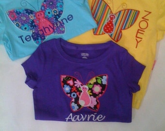 Butterfly T Shirt, Easter T-Shirt Girls Appliqued and Embroidered, personalized,  custom boutique shirt