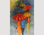 PAINTING on Silk Small GICLEE Prints  UMBRELLAS Series Size  8,5in X 11in Professional Media Enhanced Matte Paper