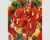 PAINTING on Silk GICLEE Print  PRAGUE   Series Size 13inX8.5in Professional Media Luster Paper