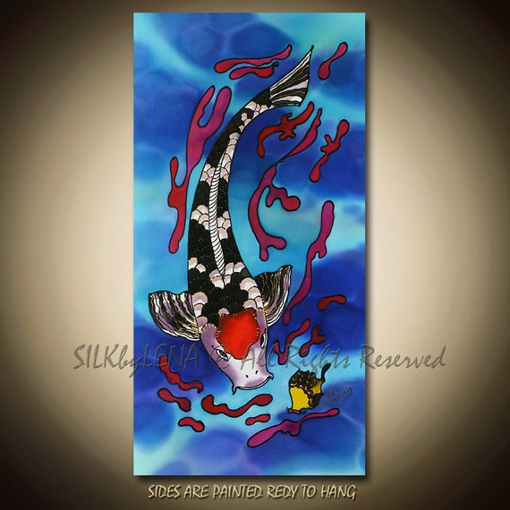 PAINTING on Silk ORIGINAL Fish and Pond  Series Size 10inX20in