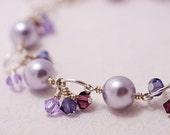 Swarovski Pearl & Crystal Charm Bracelet in Lavender